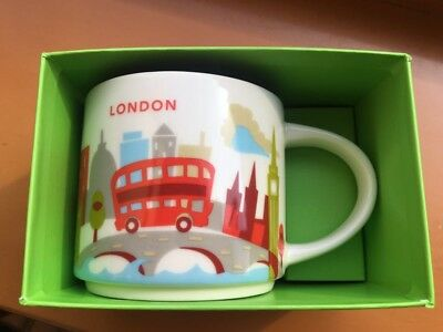 Starbucks London Mug YAH Tower Bridge Thames Big Ben You Are Here England *New*