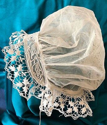 Victorian lace and embroidered bonnet  COSTUME