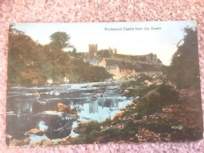 Richmond Castle from The Swale  USED  1924 & Stamped   VERY CLEAN