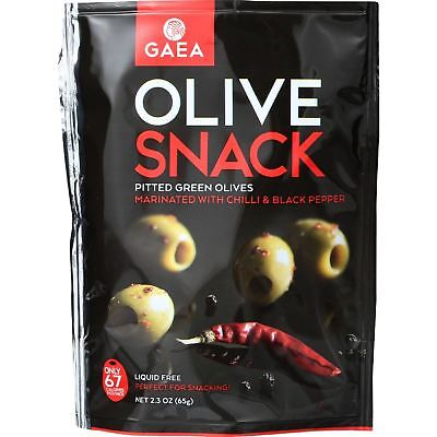 Gaea Olives - Green - Pitted - With Chili And Black Pepper - Snack Pack - 2.3 Oz