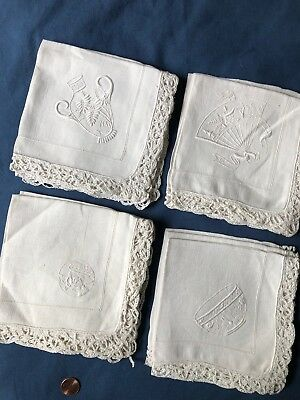 Vintage small embroidered and lace edge Napkins - set of 12