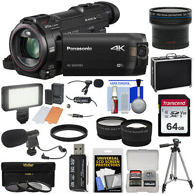 Panasonic HC-WXF991 Wi-Fi 4K Ultra HD Video Camera Camcorder + Fisheye Lens Kit