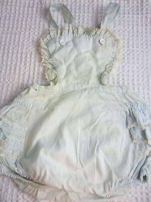 1950s Little Craft baby girl ruffle bottom sun suit romper size 2 lt blue cotton
