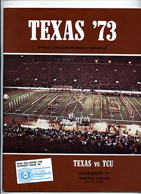 Texas V TCU Christian RARE 1973 Football Program Longhorns Cotton Bowl Year