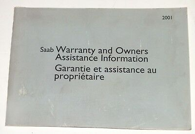 SAAB Warranty Owners Assistance Information 2001 Original Booklet English French