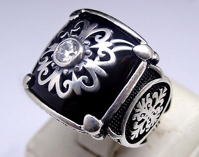 925 Sterling Silver Turkish Handmade SPECIAL Onyx Mens Ring Sz 10 us fr. resize