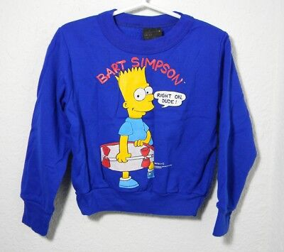 1990 90's VTG Bart Simpson TV Cartoon Skateboard RIGHT ON DUDE Sweater Toddler