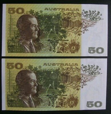 Australia $50 Notes Knight/Stone Consecutive Pair aUNC