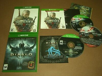 Diablo III Reaper of Souls & The Witcher 3 Wild Hunt CIB Complete NM Xbox One!