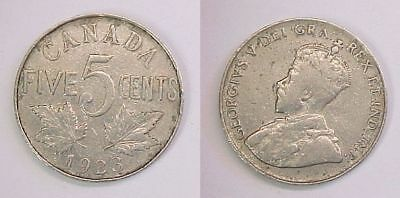1923 Canadian Nickel Canada Five Cents VG - F Very Good -Fine