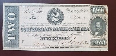 $2 Confederate Paper Money 1864