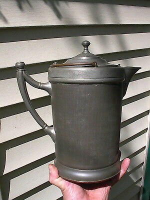 SCARCE OLD UNUSUAL c.1900 GRANITEWARE LINED ANTIQUE MANNING COFFEE POT