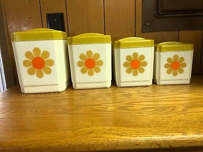 Mid Century FLOWER POWER Plastic Kitchen Canisters from Sears Vintage