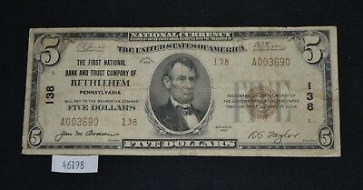 WPC ~ 1929 $5 National Currency First Bank Trust of Bethleham, PA #138 Series 2