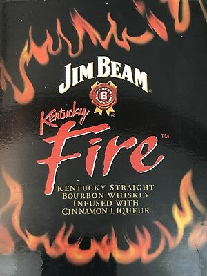 Jim Beam Kentucky Fire Cinnamon Liqueur Whiskey Flask - Stainless Steel 6 oz