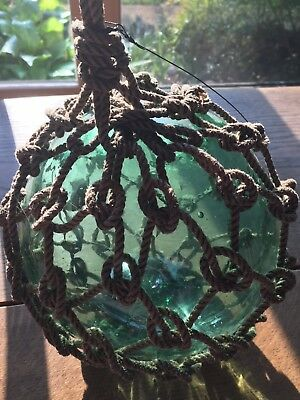 antique/vintage European/japanese glass fishing float/buoy with net