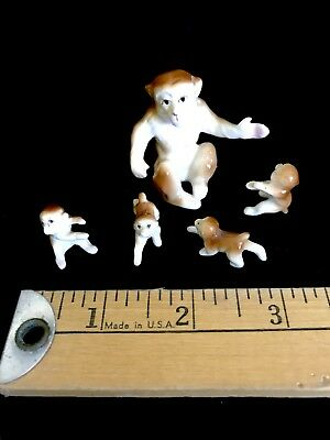 Vintage Miniature Mom & Babies Bone China Monkeys Family Figurines Japan