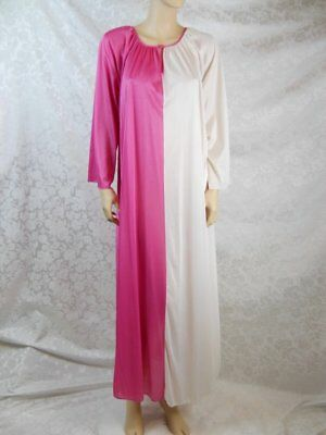 """Long Nightgown One Size Bust to 54"""" Pink White colorblock soft nylon Sears USA #"""