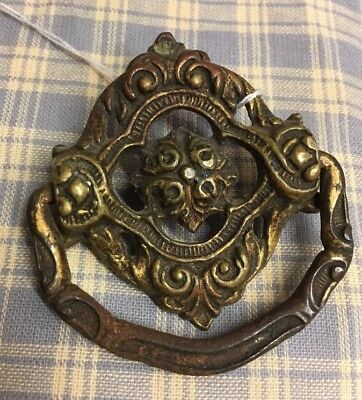 1800's Ornate Drop Ring Dresser / Drawer / Cabinet Pull / Bronze And Metal Drop