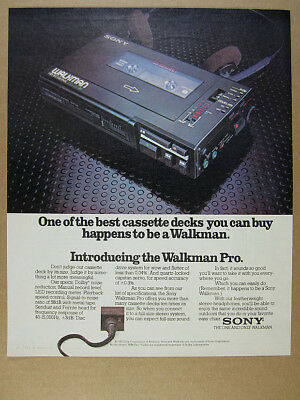 1982 Sony Walkman Professional WM-Pro photo vintage print Ad