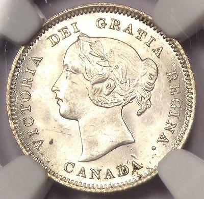1900 Canada Victoria 5 Cent Piece (5C Coin) - NGC MS64 (BU UNC) - Rare in MS64!