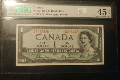 1954 Bank of Canada $1 Devil's Face PMG 45