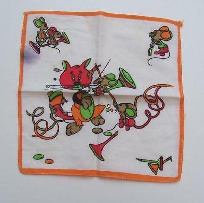 VINTAGE 1980's CHILD's HANDKERCHIEF - Musicians - 20.5cm x 21.5cm  Estate Item