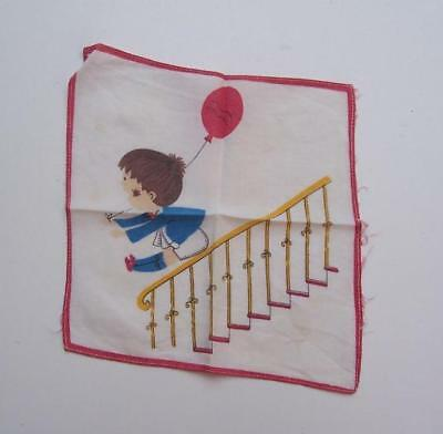 VINTAGE 1980's CHILD's HANDKERCHIEF - Fun on Stairs - 20cm x 20cm  Estate Item