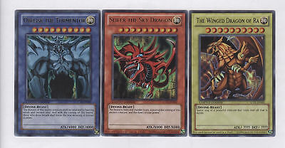 Yugioh Egyptian God Cards Set Ultra Rare, LC01 Slifer, Obelisk, Ra Limited Ed