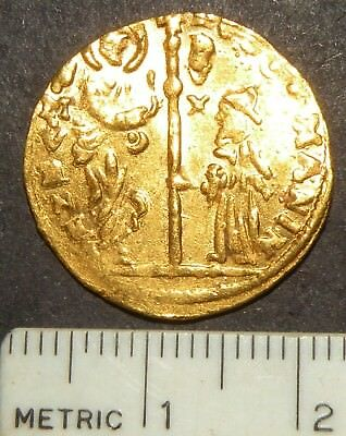 Medieval Coin Gold Large Coin 24kt Antique Christ Crusade Cross Virgin Mother