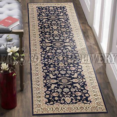 VALENTI ALLOVER NAVY BLUE TRADITIONAL FLOOR RUG RUNNER 80x300cm *FREE DELIVERY**
