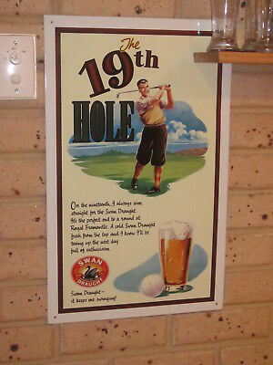 Swan Draught Beer Metal Wall Sign - The 19th Hole - Golf