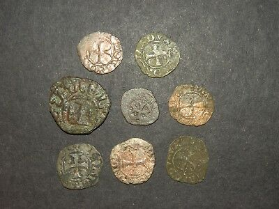 Medieval Cross Coins Lot 8 Total Silver 1200-1500's Ancient Crusader Templar +