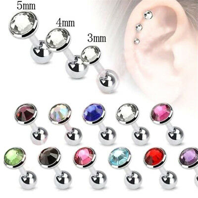 2pc Surgical Steel Gem Ear Cartilage Tragus Helix Barbell Stud Earring Piercing