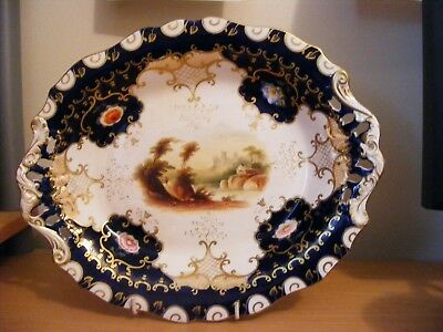 HAND PAINTED OVAL FOOTED SHALLOW  DISH FROM 19TH C DESSERT SET PATT No2/2905