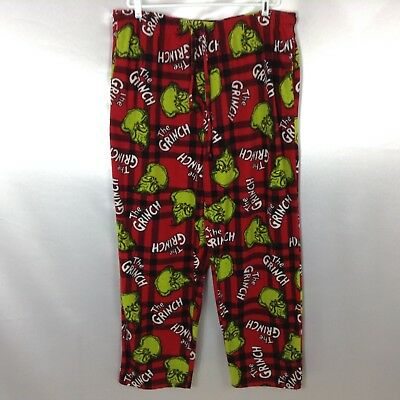 DR. SUESS Pajama Lounge Pants How The Grinch Stole Christmas Red Black XXL 44-48