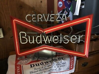 Budweiser cerveza neon bar light sign pub beer vintage see budweiser cerveza neon bar light sign pub beer vintage see description aloadofball Image collections