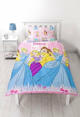 Kids / Girls Disney Little Princess 'Boulevard' Single Duvet Set - pink / blue