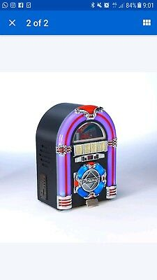 Steepletone Jive Rock Sixty Mini Retro Jukebox CD MP3 Dark Oak used