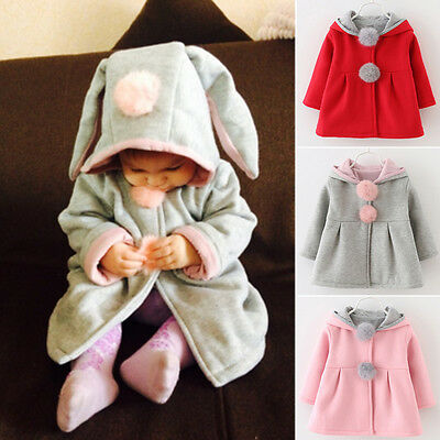 Baby Girls Rabbit Ear Hoodie Hooded Coat Winter Clothes Warm Jacket Top Outwear