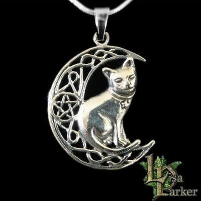 LISA PARKER CAT MOON PENDANT STERLING SILVER Pentagram Wicca Pagan Gothic