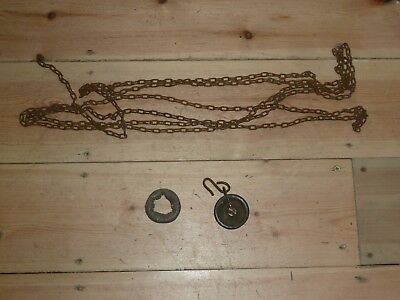 Antique chain lead doughnut counter weight & pulley for 30 hour longcase clock