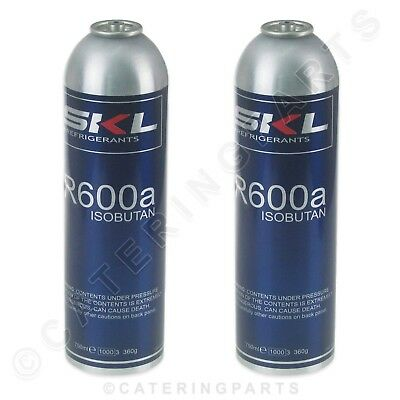 2 X R600a REFRIGERANT GAS REFRIGERATION CANISTER CYLINDER 360g RECHARGE REGAS
