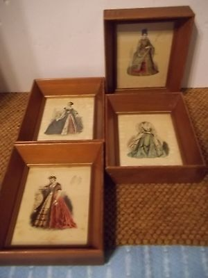 Set of 4 Victorian Pauquet Shadowbox Framed 1875 Mini English & Foreign Costumes