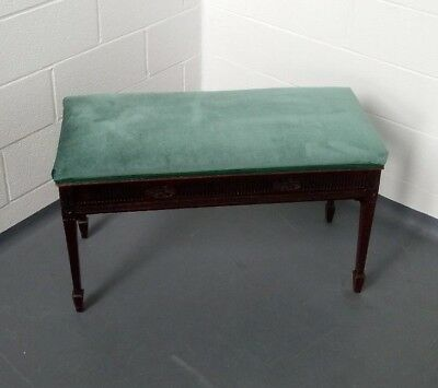 Antique Edwardian (1901-1910) Duet Piano Stool - reupholstered in green