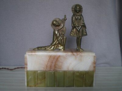 ancien lampe statue femme pierrot en bronze art deco antique lamp woman figurine