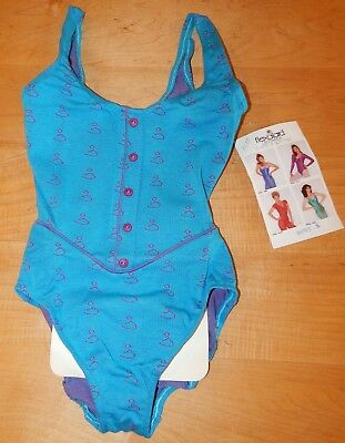 Vintage Flexatard Dance Leotards/ New / Style 8093/ Small/ Turquoise w Red Print