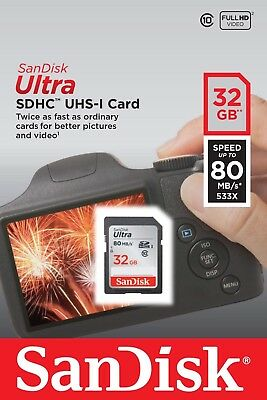 SanDisk 32GB Ultra SDHC UHS -l Class 10, Speed 80MB/S SD Card For Camera New