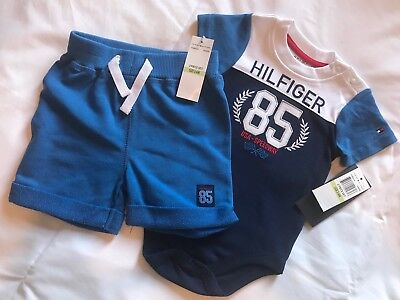 TOMMY HILFIGER BOYS 2 PIECE SET.  BRAND NEW WITH TAG. 100% Auth.. FIT 6-9 MONTHS