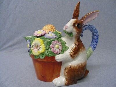 OCI Fitz & Floyd Rabbit with Planter of Flowers Teapot n494
